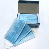 Маска 3-х слойная на резинке голубая короб 50шт/уп